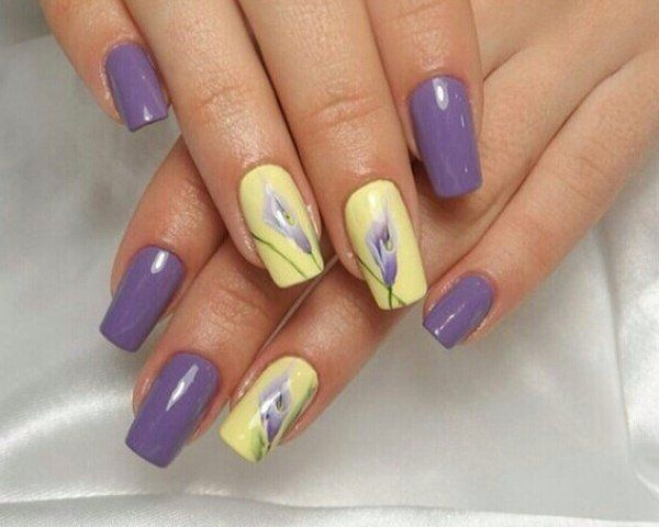 Serious manicure in the style of Provence is decorated elegantly and festively. Yellow and purple striping of bases looks impressive ...