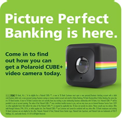 FREE Polaroid Cube+ for opening a TD Bank Account - http://www.guide2free.com/electronics/free-polaroid-cube-for-opening-a-td-bank-account/