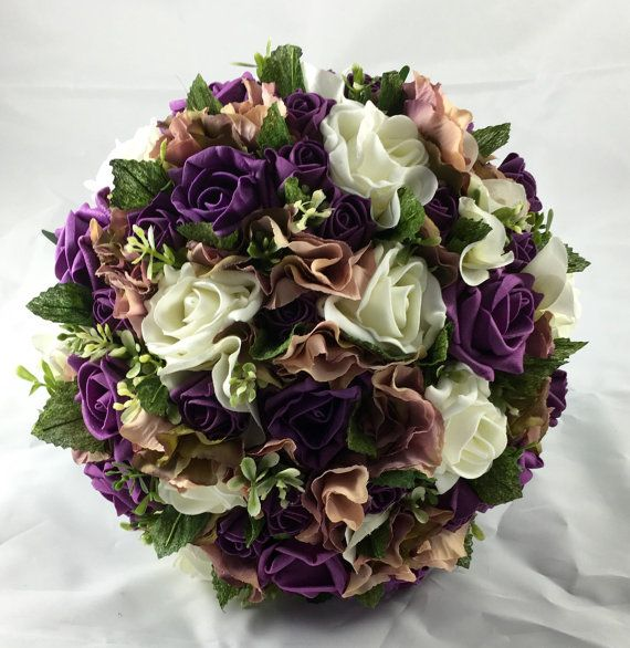Large Plum & Ivory Rose Brides Bouquet this can by WisteriaAvenue