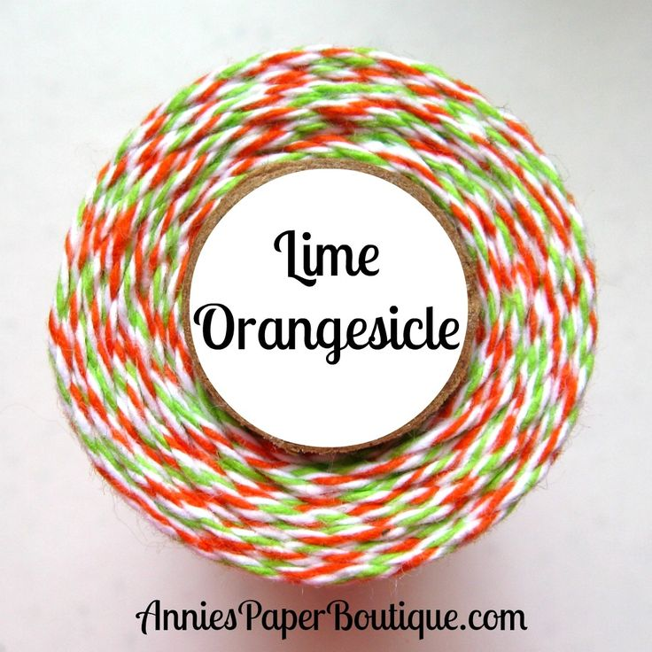 Lime Orangesicle - lime, white, and orange bakers twine - Halloween bakers twine
