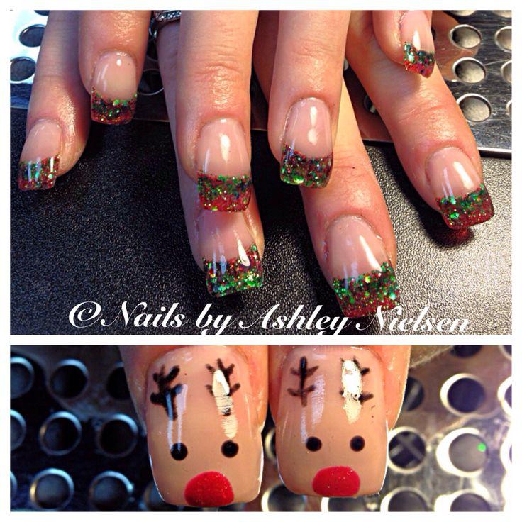 Hand Painted Christmas Nail Art: Custom Mixed Christmas Glitter Nails With Hand Painted