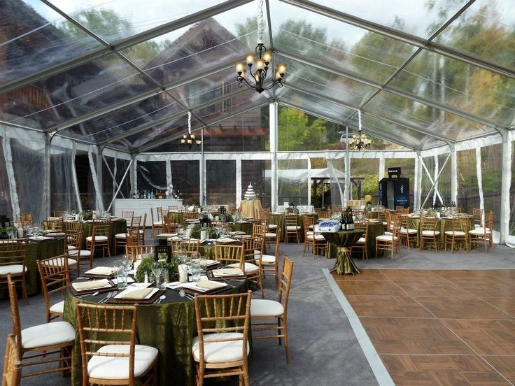 Rustic Wedding Under Clear Top Frame Tent