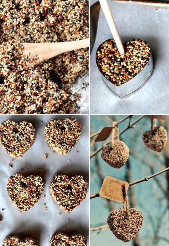 DIY birdseed hearts cool garden gift! Pinterest By Ivanna Jamy