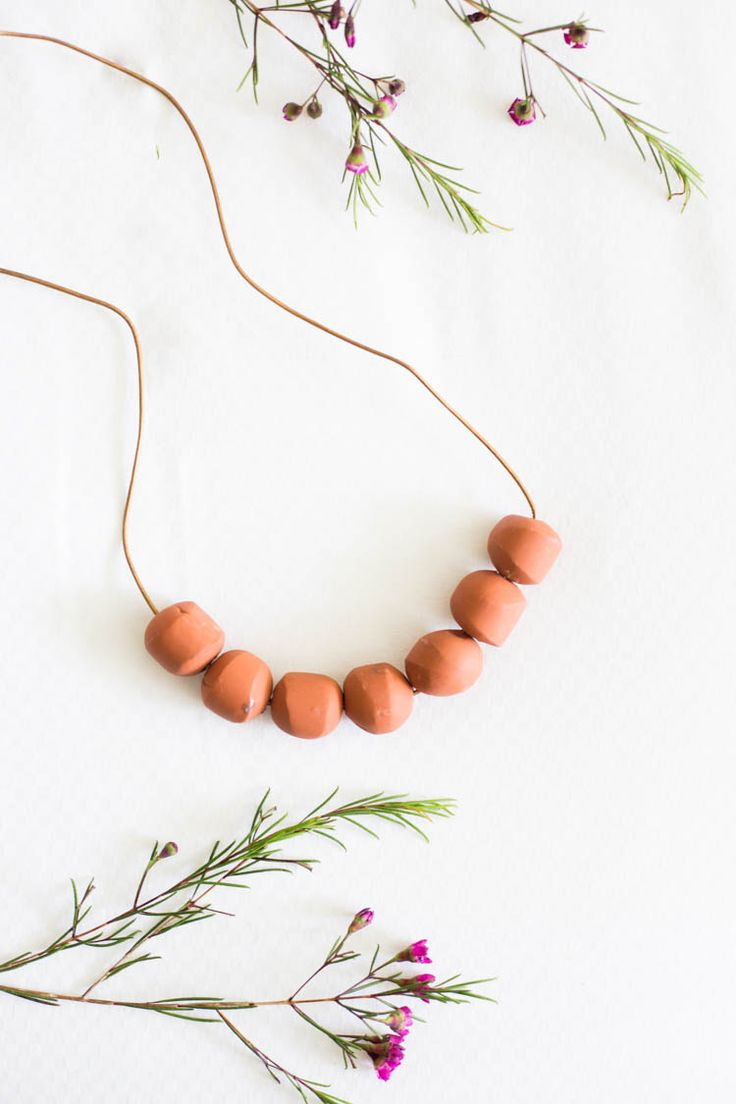 DIY Simple Terra Cotta Clay Bead Necklace - Live Free Creative Co.