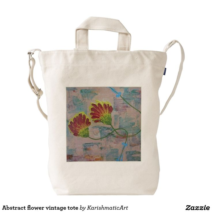 Abstract flower vintage tote duck bag