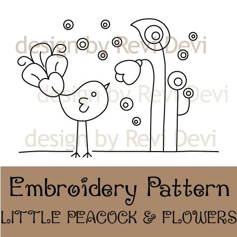 Little Peacock and Flowers 15053 - Cute Embroidery Pattern - PDF - Mod whimsical design for home decor