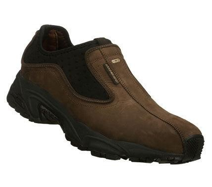 SKECHERS Mens Brown Stamina Approach Slip-on Sneakers - Make your move in easygoing sporty style with the SKECHERS Stamina-Approach shoe. Smooth nubuck leather upper in a slip on sporty..