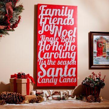Celebrate the holidays with our Christmas Joys Glittered Canvas Art Print! #Kirklands #HollyJolly #holidaydecor