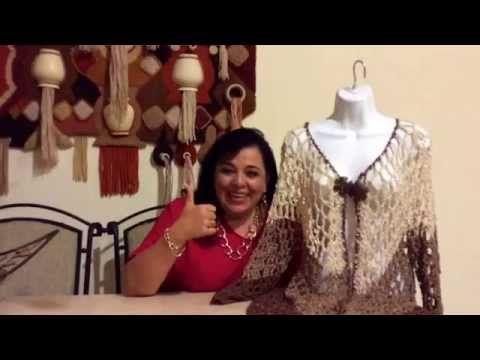 Chaleco de picos con manga - Tejido con gancho fácil - Tejiendo con Laura Cepeda - YouTube