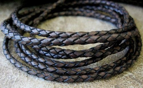 Braided Leather Lace Bolo Cord Vintage Dark by jewelrycatsupplies, $5.50
