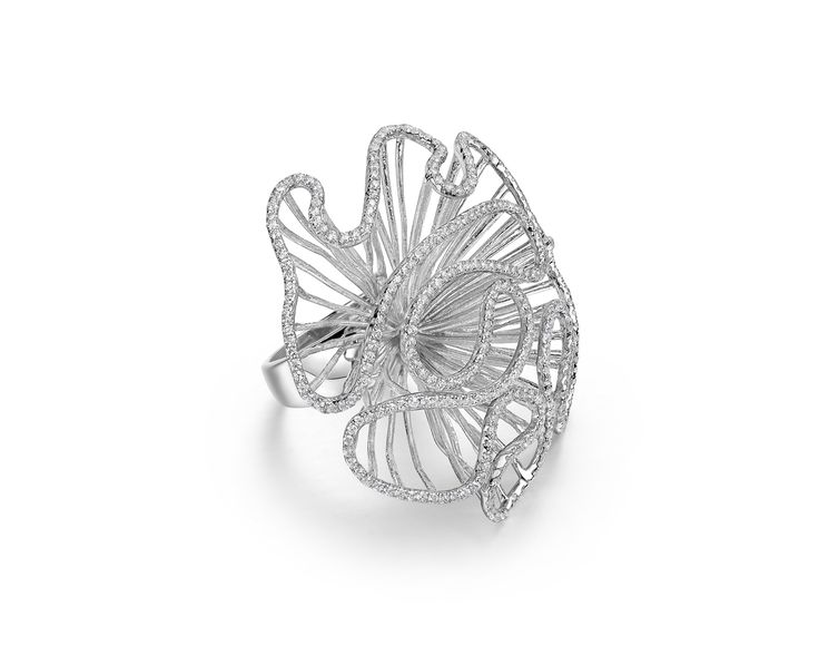 Cascade sterling silver and cubic zirconia ring by Fei Liu Fine Jewellery