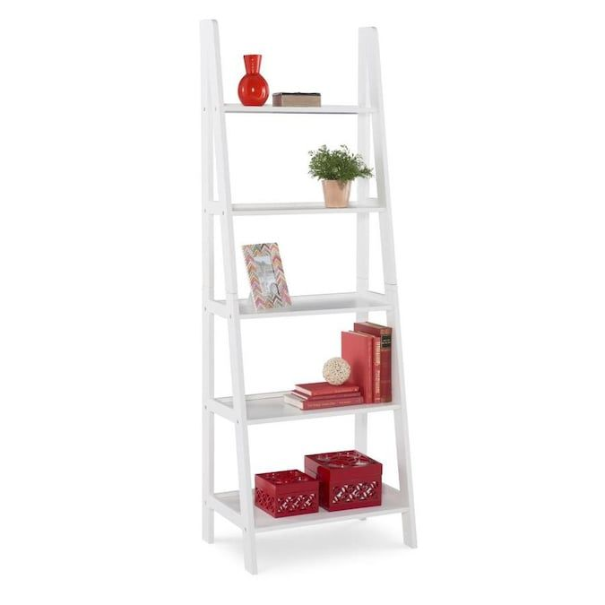 Linon Acadia Ladder Bookshelf White In The Bookcases Department