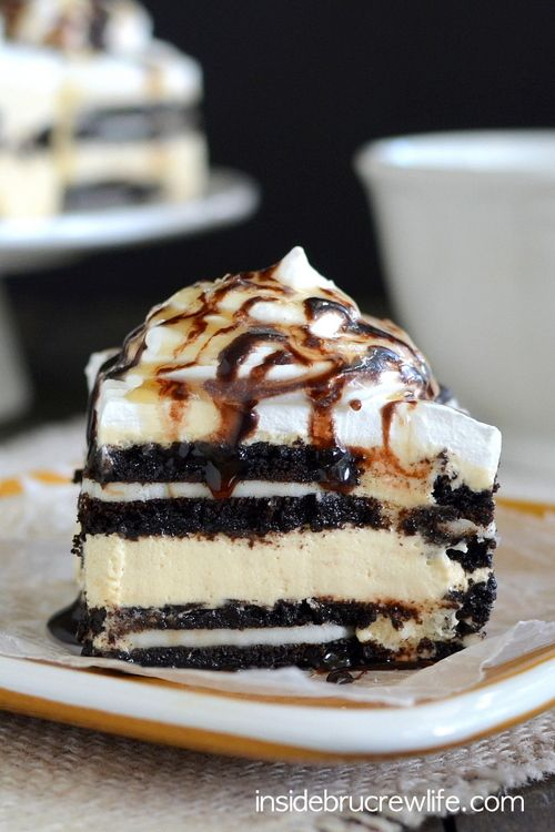 Layers of salted caramel cheesecake and Oreo cookies takes this easy no bake cake over the top!!!