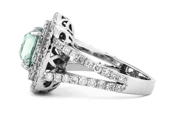 A mint green tourmaline and diamond ring by GALACIA DESIGNER JEWELLERY.