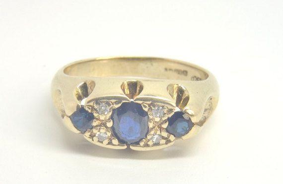 Vintage Sapphire & Diamond Ring  Size M 1/2 by SBradleyJewellers