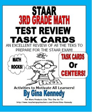 EXCELLENT 3RD GRADE MATH REVIEW FOR THE STAAR TEXAS STATE EXAM!  Included are 16 large task cards with numerous tasks and activities that cover all the 3rd grade Math TEKS covered on the STAAR exam.   Each card includes a multitude of challenging and aligned activities to review for the STAAR test and it allows the students to practice the skills they will be required to know on test day in a new and different way. TEKS Standards are listed on each card!