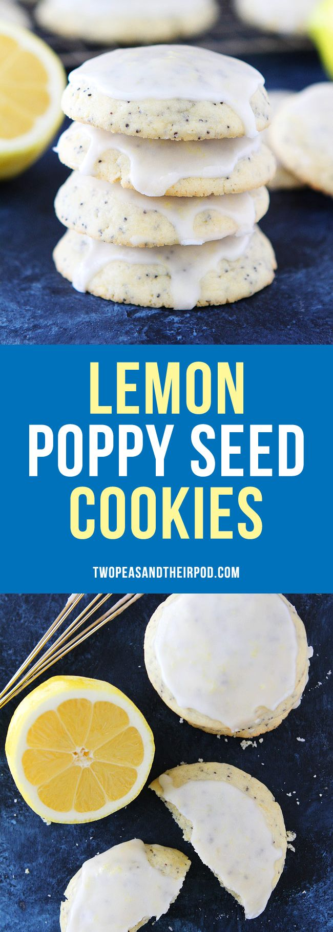 Lemon Poppy Seed Cookies Soft lemon cookies with poppy seeds and a sweet lemon glaze.  A great dessert for spring, summer, or anytime!