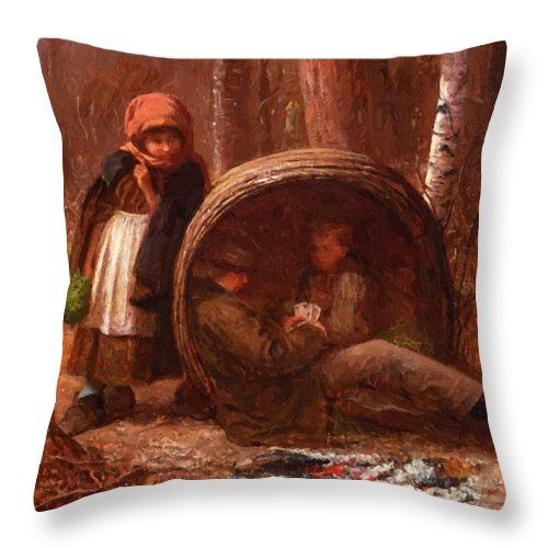 The Throw Pillow featuring the painting The Eavesdropper 1866 by Johnson Eastman