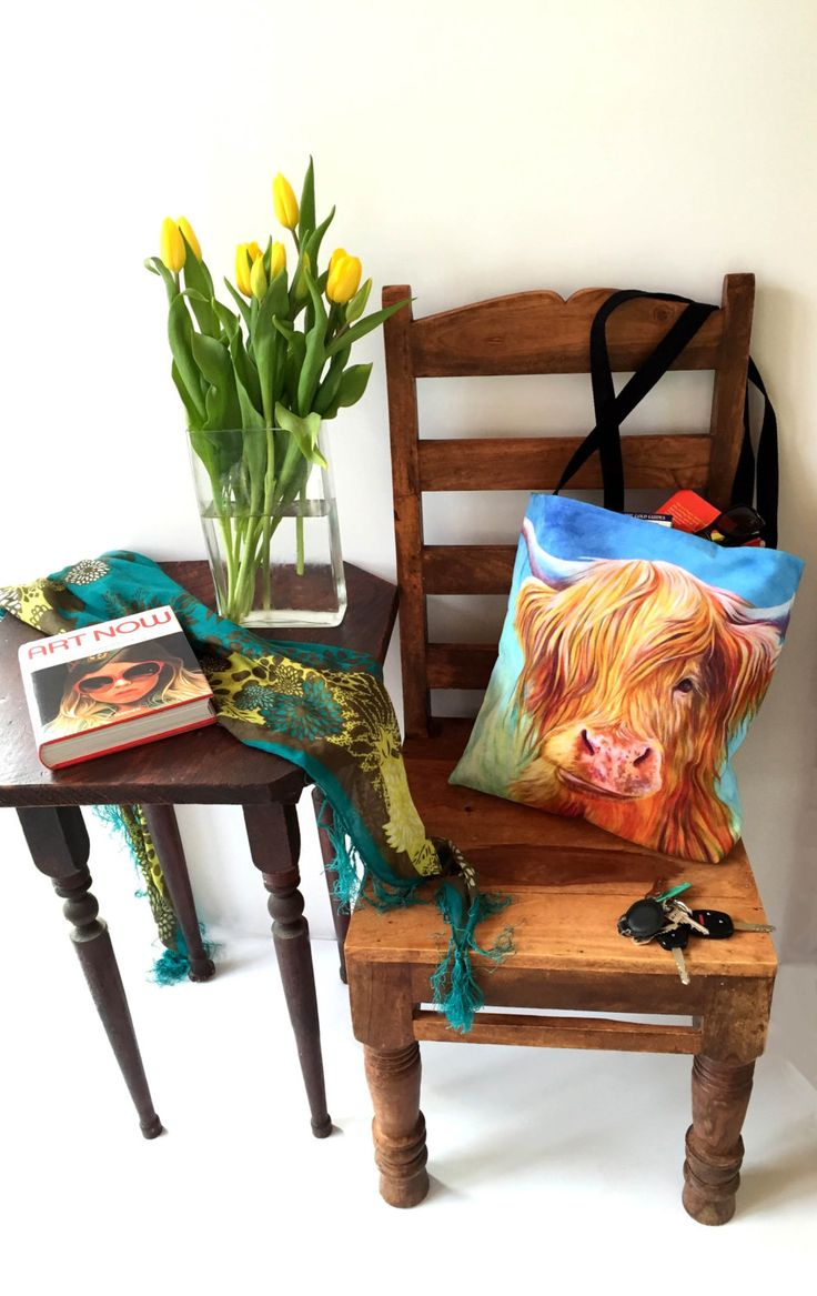 Colorful sturdy fun Highland Cow Tote Bag - great for a gym bag, school bag, sleepover bag, bring some wine to a friend's place bag by KateGreenDesign on Etsy  www.kategreendesign.com
