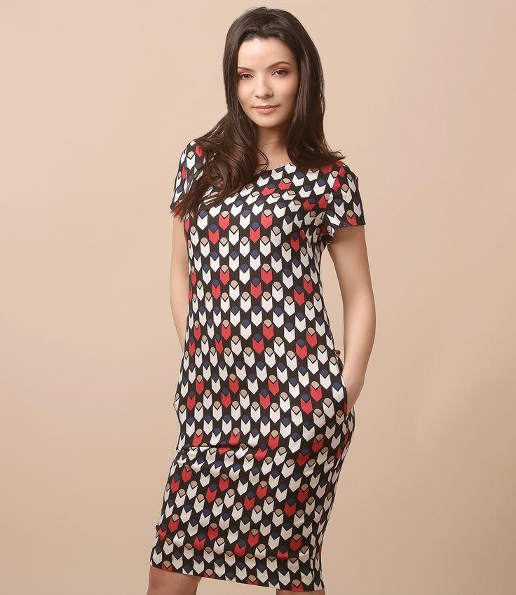 Optical print on a daytime dress Spring 17 | YOKKO #prints #daytime #dress #color #spring17 #woman #fashion #geometric #yokko #women #style