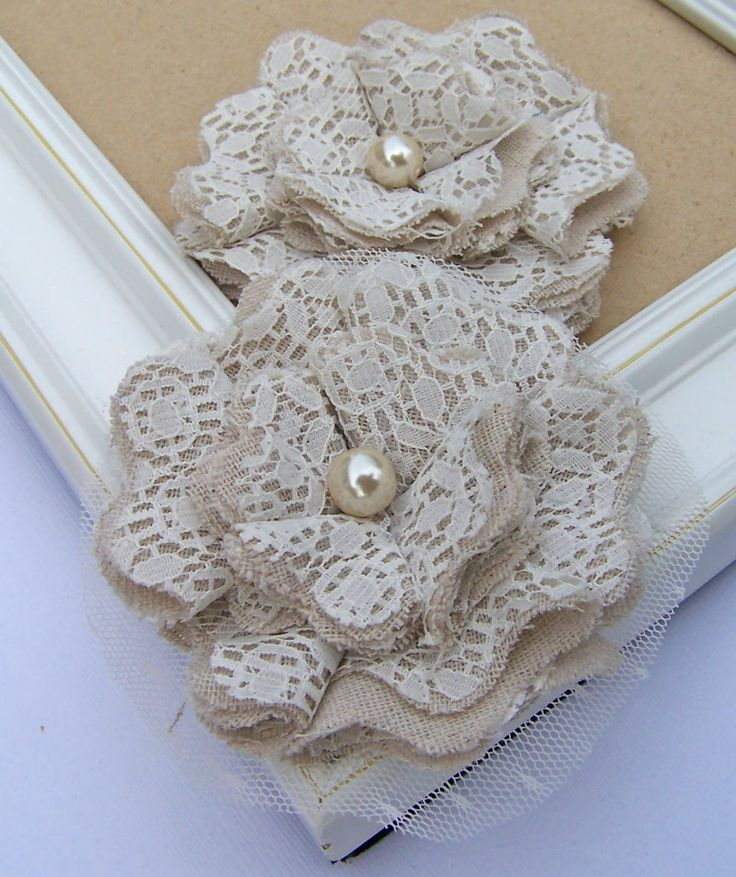 Burlap and lace flowers from The Curtsey Boutique