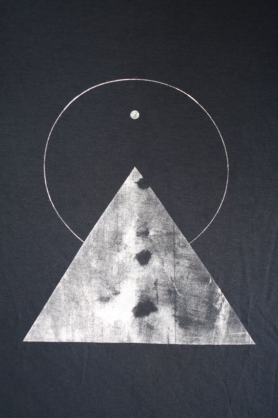 THE PYRAMID N.1  /  new age triangle tee /  dark cloud . white. / Sacred Geometry <3