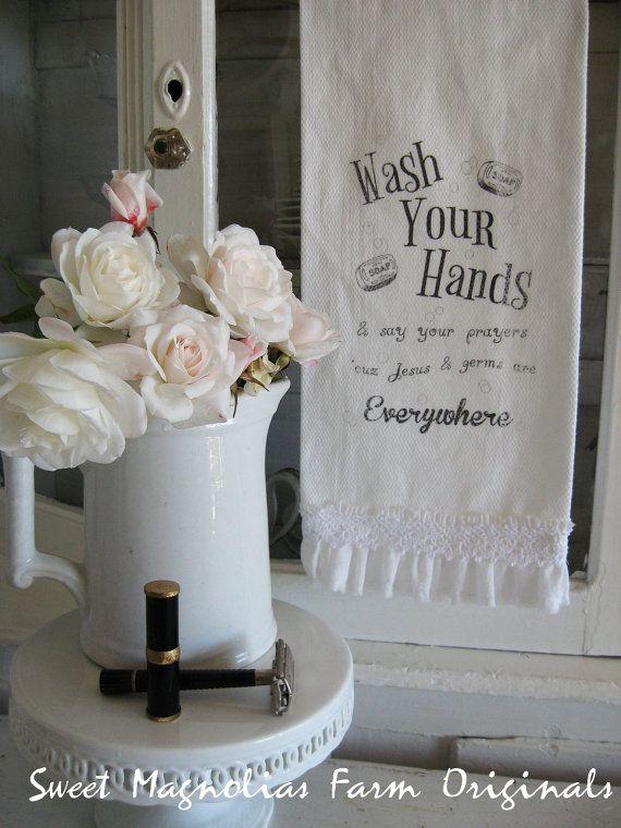 Ruffled Bathroom Hand Towel Wash Your Hands And Say