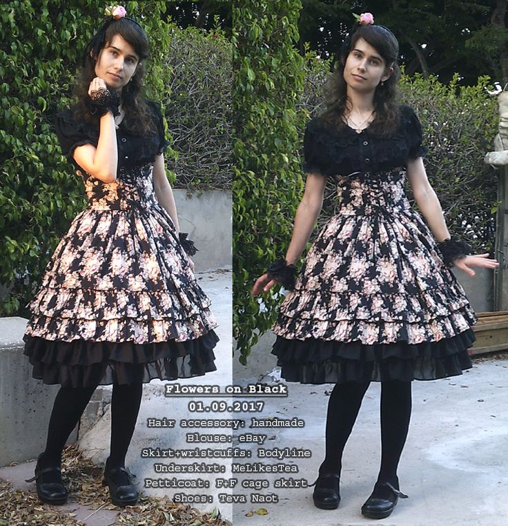 """queerloli: """" Flowers on Black 01.09.2017 A coord for a Friday Night Meal (& Kidush) with SO and SO's family Coord Rundown: •  Hair Accessory: handmade •  Blouse: eBay •  Skirt+Wristcuffs: Bodyline • ..."""