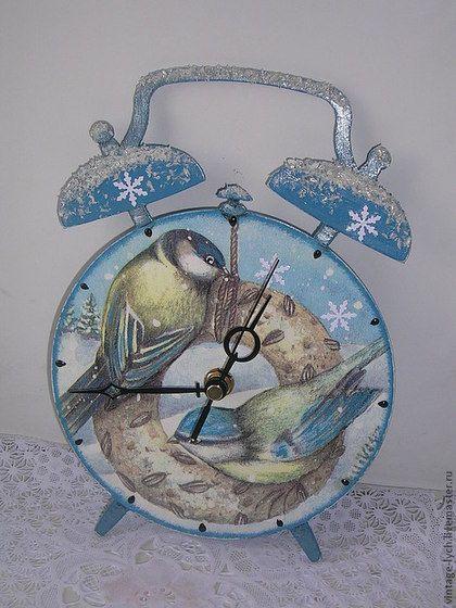 Часы для дома ручной работы. Ярмарка Мастеров - ручная работа СКИДКИ!!! Часы Птичий полдник,   Зимние, Нежность.. Handmade.