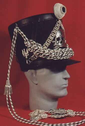 Replica Prussian Lieb Hussar Officer's uniform shako, circa 1813.