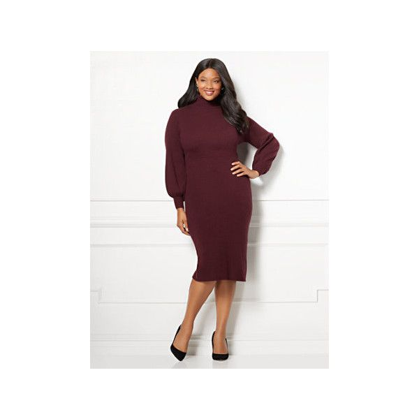 Eva Mendes Collection Catrina Sweater Dress Plus ($52) ❤ liked on Polyvore featuring plus size women's fashion, plus size clothing, plus size dresses, red, slip dresses, white slip dress, plus size white dress and red slip dress