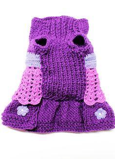 De la mano de punto púrpura Vestido de perro tamaño por MaxMilian