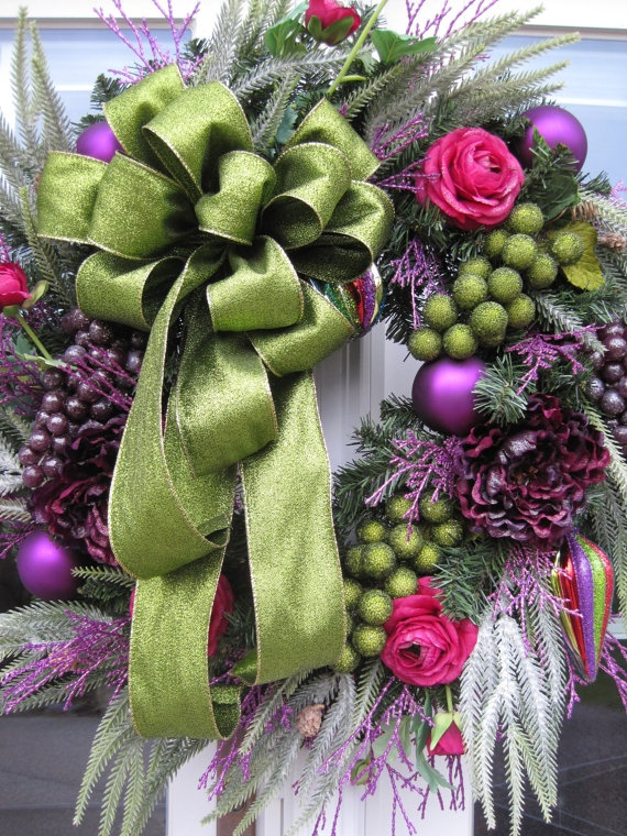 HOLIDAY GLAMOUR Magenta/Purple CHRISTMAS 2012 by funflorals   Jingle Bells <3   Pinterest   Christmas, Christmas wreaths and Purple christmas
