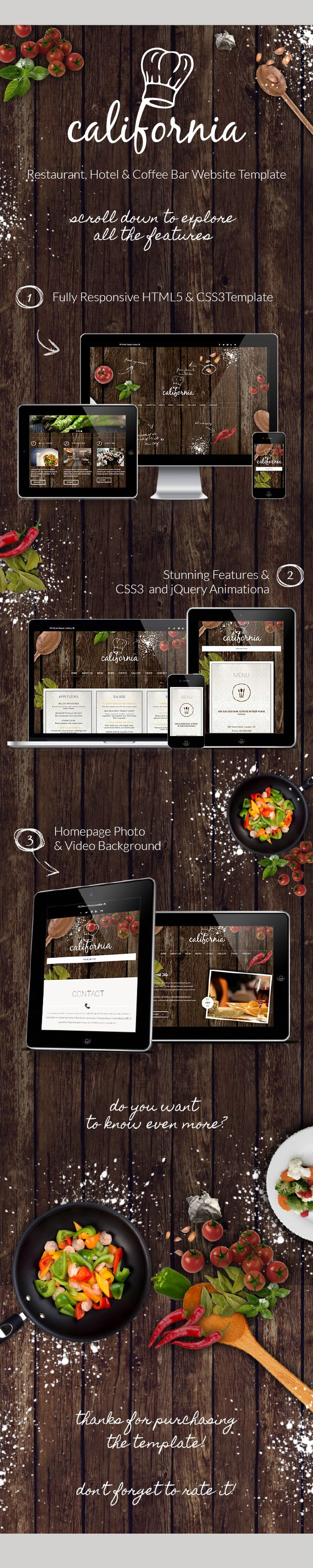 Description  California – Restaurant Hotel Coffee Bar Website Template is a fully configurable and easy to use responsive website template with HTML5 Video Background Support and a lot of oth...