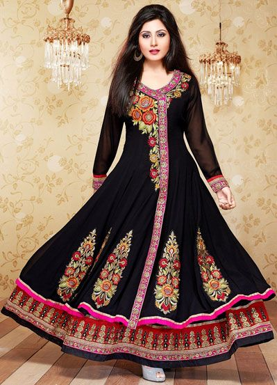 USD 40.74 Black Georgette Floor Length Anarkali Salwar Kameez 43164