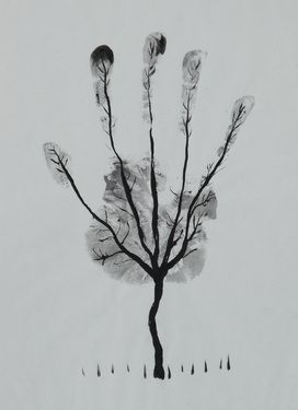 "Saatchi Online Artist Ahmed Al Safi; Drawing, ""Man's Hand Tree! "" #art Wow, this would be fun to try with the kids!"
