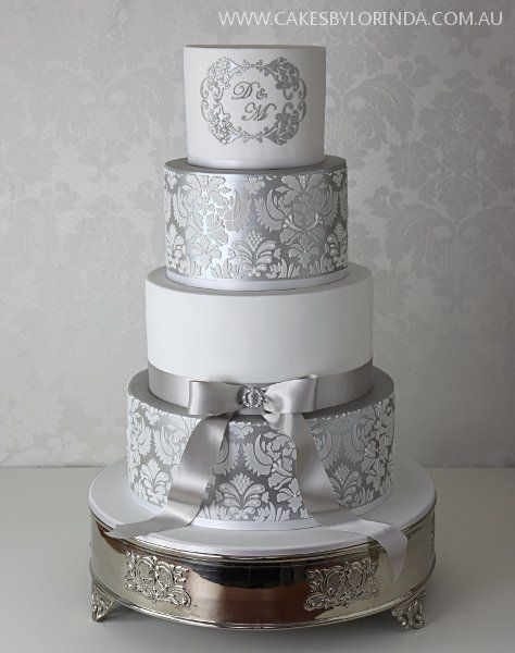 silver fondant wedding cake 25 best ideas about damask wedding cakes on 19860