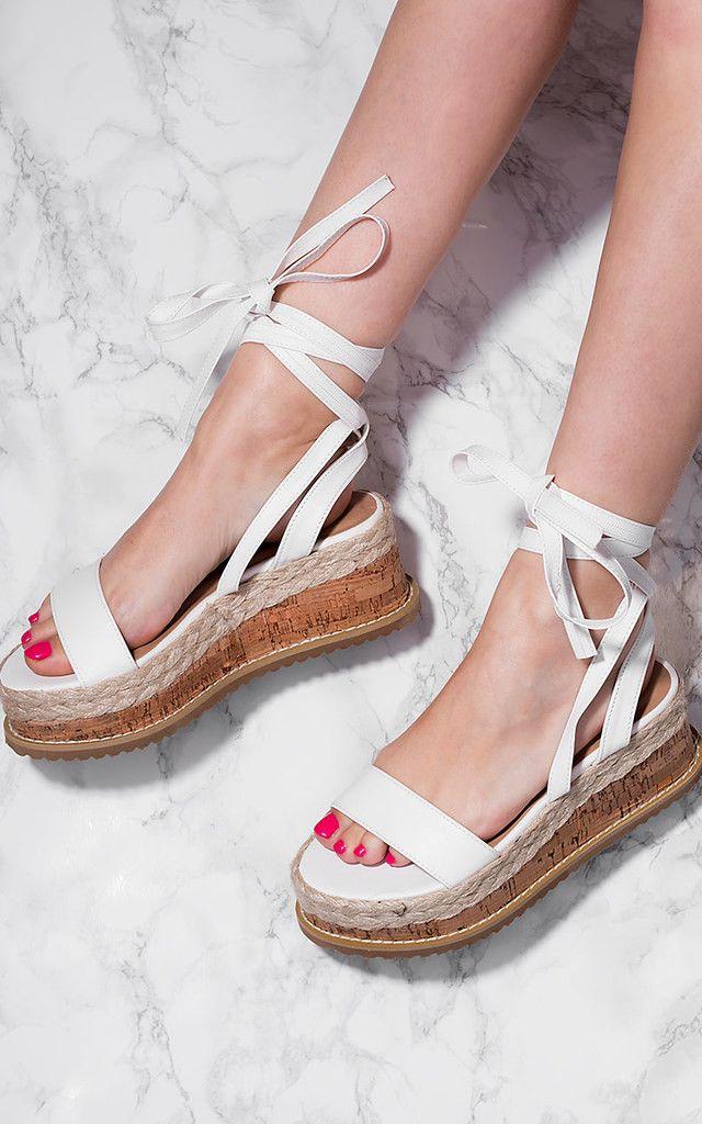 ca808bdb9 POPPY Espadrille Gladiator Sandals Shoes - White Leather Style by SpyLoveBuy