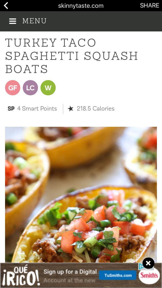 Taco Tuesday's call for Roasted Turkey Taco Spaghetti Squash Boats! So good, my favorite new way to eat spaghetti squash filled with the most flavorful turkey taco meat, cheese and topped with pico de gallo.  4 Smart Points • 218.5 Calories Print Recipe: http://www.skinnytaste.com/turkey-taco-spaghetti-squash-boats/