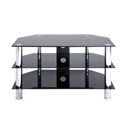 """LEVV Chrome & Black Glass TV Stand for up to 37"""" TVs.    The TV60800BCH from Manchester firm LEVV Home is a cheap TV Stand that does not compromise on quality or looks for families looking for a Black Glass TV Stand on a small budget.  Designed for TVs up to 37"""" this TV Stand comes with a 3 year manufacturer's warranty as standard along with free delivery in the UK included in the price - so the price you see is the price you pay.   Dimensions W-800mm, H-480mm, D-450mm  TV60800BCH."""