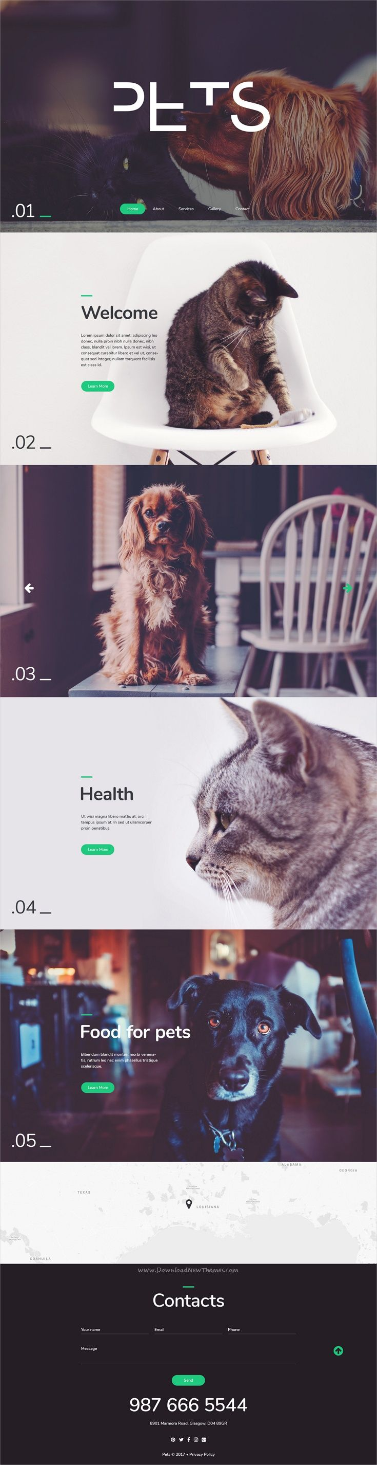 Pets is an elegant, minimal design #PSD template for #webdev #pet services industries websites download now➩ https://themeforest.net/item/pets-modern-psd-template/19343878?ref=Datasata