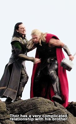omg, i just realized something. This is basically payback because earlier in the movie, thor had pushed loki out of a moving ship. This is where little brother returns the favor.