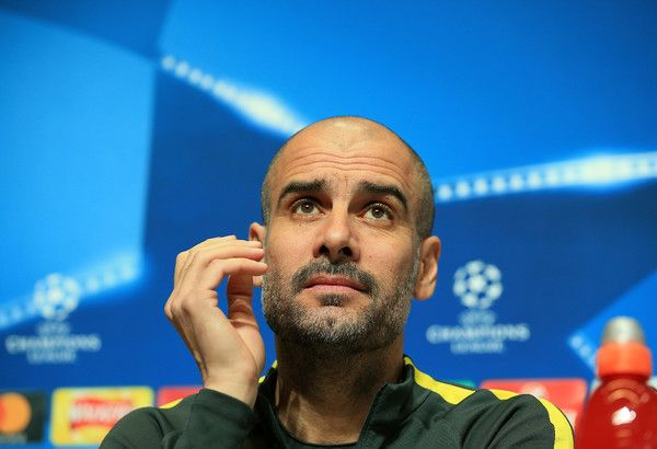 Josep Guardiola of Manchester City answers questions from the media during the Manchester City Training and Press Conference at Etihad Campus on February 20, 2017 in Manchester, England.