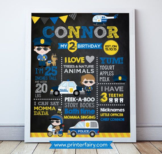 Police Birthday Poster Police Birthday Party Police Print