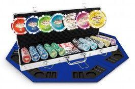 Pack Las Vegas 500 jetons + Table Top bleu - Pokeo.fr - Pack de poker incluant 1 mallette de poker Las Vegas de 500 jetons en plastique PP 11,5g + 1 Table Top 8 joueurs 120x120cm de couleur bleue.
