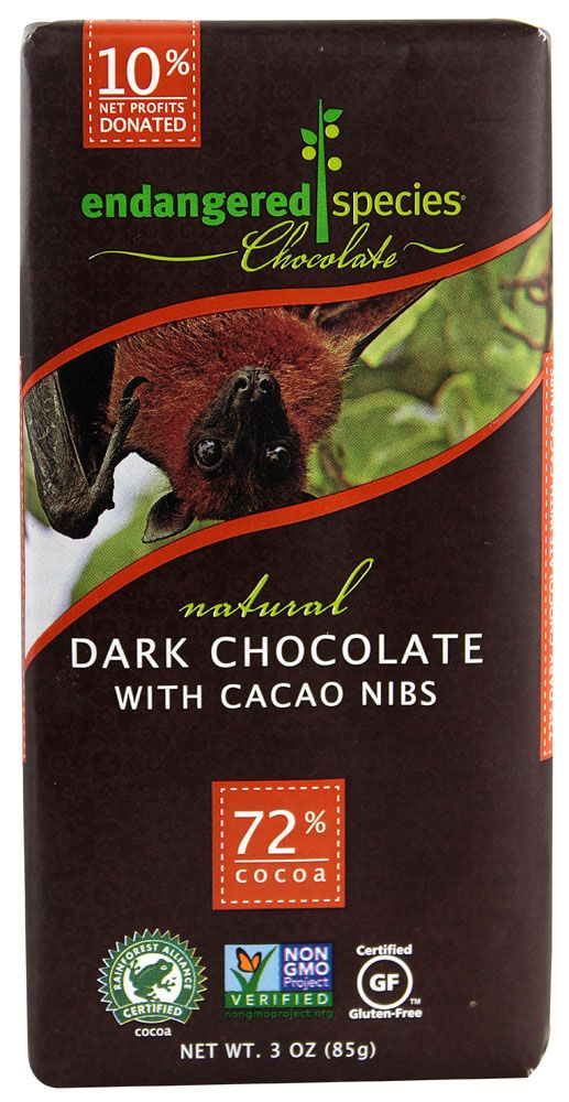 Endangered Species Chocolate Dark Chocolate Bar with Cocoa Nibs.  My current favorite dark chocolate!