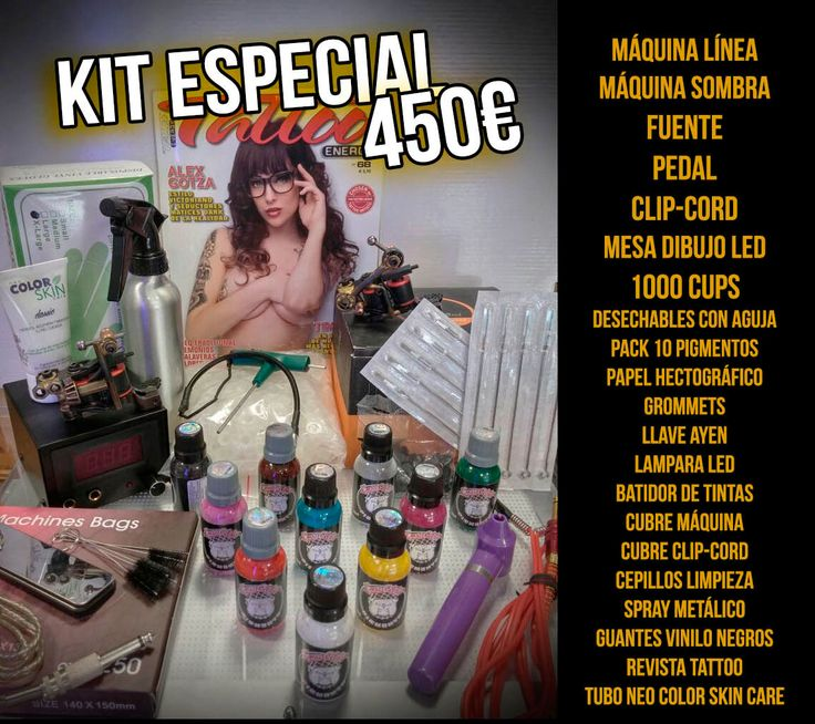 Kit de Tatuaje que incluye, Máquina de Línea, Máquina de Sombra, fuente, pedal, clip-cord, mesa de dibujo led, 1000 cups, desechables con aguja ...