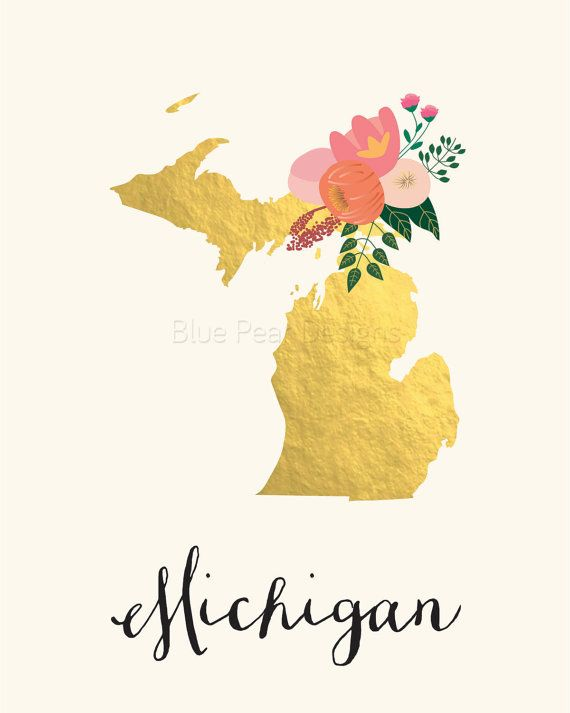 Michigan Art Printable Michigan State Art by BluePearDesigns