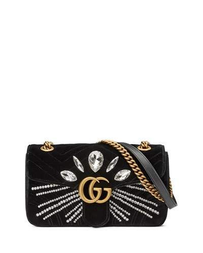 20b815513 GUCCI GG MARMONT SMALL CRYSTAL-EMBELLISHED VELVET SHOULDER BAG. #gucci  #bags #shoulder bags #crystal #stone #velvet #lining #