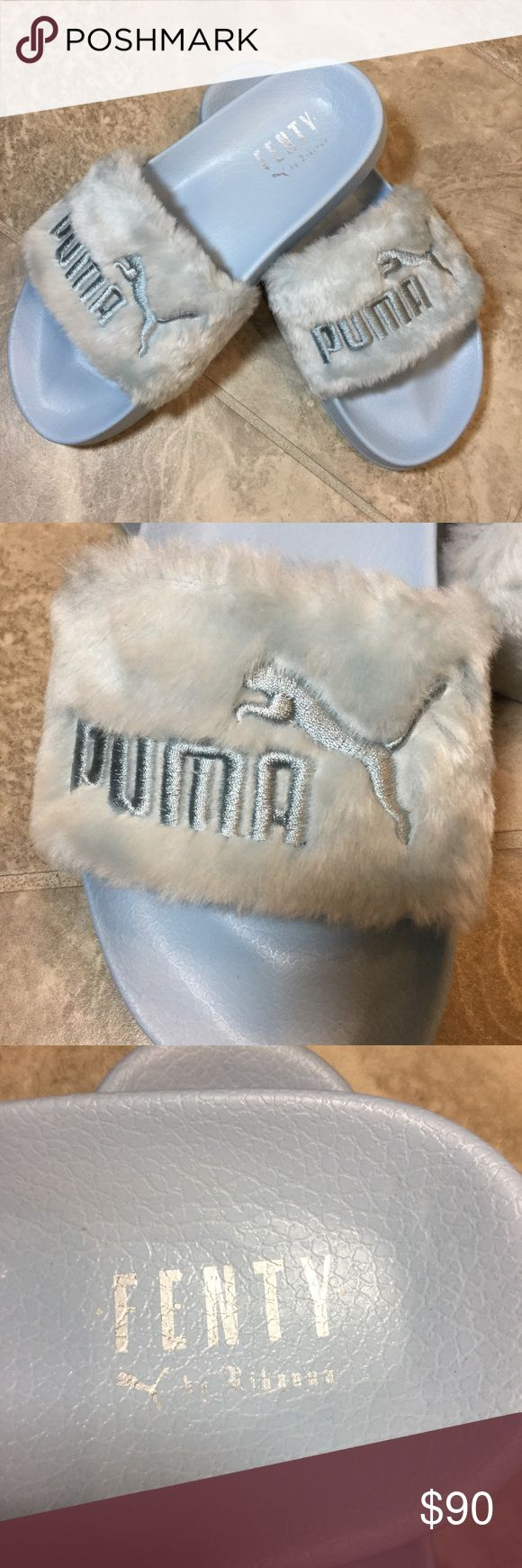 Fenty Puma by Rihanna Fur Slide The Fur Slide from the FENTY PUMA by Rihanna collection returns, but this time in three new seasonal spring colors. Making over a timeless PUMA performance sandal worn by soccer players off the field, its soft, comfortable design features a faux fur strap and a satin foam backing.  Features  Faux fur strap Satin foam strap backing FENTY PUMA by Rihanna logo at footbed Embroidered PUMA No. 1 Logo at strap Puma Shoes Sandals